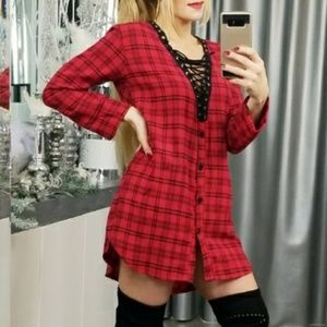 Tops - LACE UP PLAID BUTTON DOWN TUNIC TOP